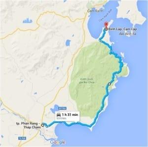 Đường đi Phan Rang - Bình Lập