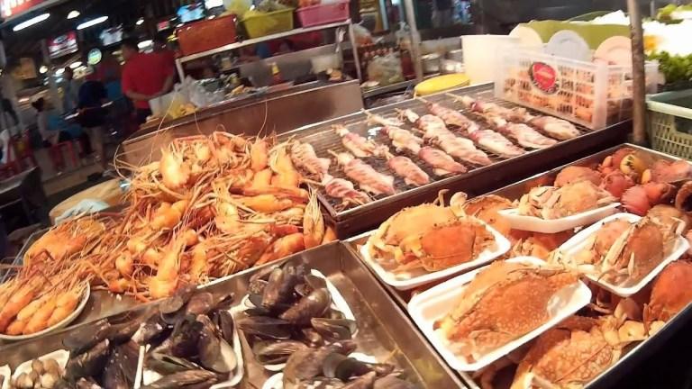 món ăn tại chợ ở Hua Hin